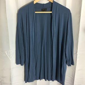 J Jill Wearever Open Front Blue Cardigan XL